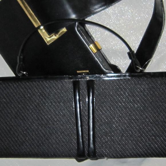 "Vintage Handbags - VINTAGE 60'S FABRIC PATENT LEATHER 16"" BAG PURSE"